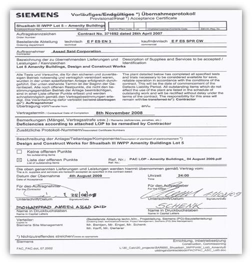 Clients Appreciation - Completion Certificates